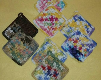 Two Cotton Bumpy Washcloths Dishcloths
