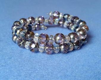 Smoky Lavender Cut Crystal Glass Wrap Bracelet handmade bracelet memory wire