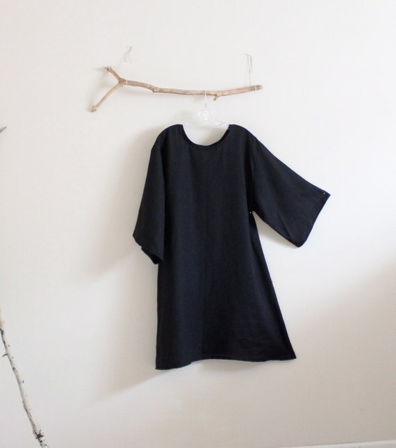 simple A line linen dress with your choice of sleeve length made to order listing
