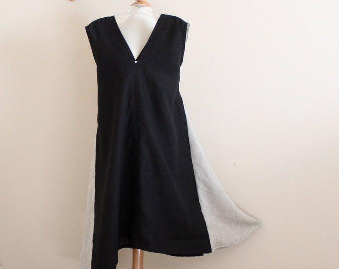ready to wear size L black pebble  linen sparrow tunic dress / women clothing / black linen dress / size XL dress / linen women / roomy