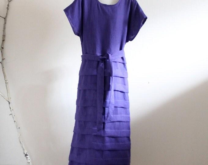 ready to wear purple linen pleated umbrella shape dress size L or XL / linen wedding dress / purple linen dress