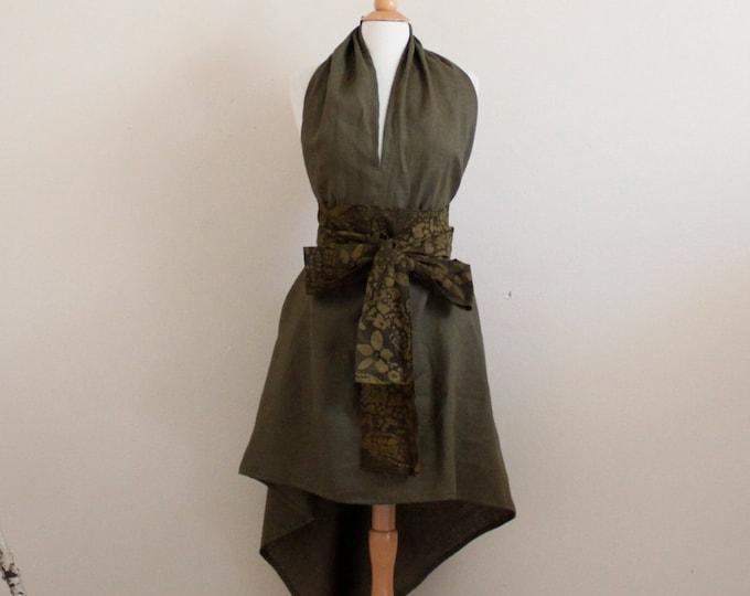 ready to wear olive linen chic low cut halter dress / beach wedding / linen sundress / halter dress / linen party / wedding