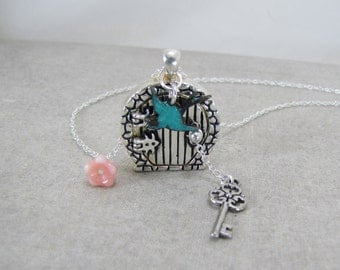Locket Necklace, Fairy Door, Secret Garden ,Miniature Cottage, Gnome House, Door Locket And Key