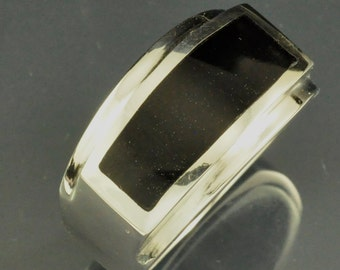 Black Onyx Flat Top Inlay Gents Ring