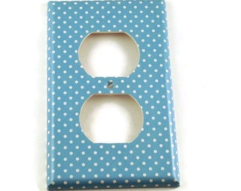 Outlet Switchplates Light Switch Cover Wall Decor  Single Switch Plate in Blueberry Dot (246O)