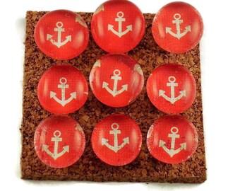 Funky Push Pins Decorative Thumb Tacks Bulletin Board Pins  in Anchors Away Red  (P81)