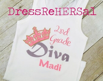 Kindegarten 1st 2nd 3rd 4th 5th grade Diva princess Back to school Shirt personalized customized