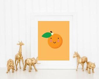 Cute Nursery Art Print, Kawaii Orange Nursery Art Prints, Fruit Wall Art for Kids, Cute Nursery Decor