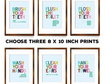 bathroom art bathroom sign bathroom decor set of prints brush your teeth