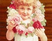 New Victorian Paper Scrap Pretty Girl with Rose Wreath