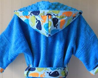 Personalized Kids Robe Boys Robes Bath Swim Sleepwear Blue