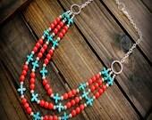 Maverick, Western Cowgirl Southwestern Boho Red Coral & Turquoise Cross Multi Strand Gemstone Necklace