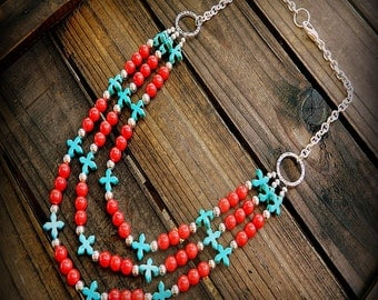 Maverick, Western Cowgirl Southwestern Boho Red Coral & Turquoise Cross Multi Strand Gemstone Necklace