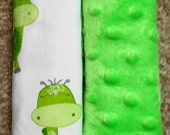 Baby Car Seat Strap Covers, Reversible Car Seat Strap Covers,Diosaurs with green minky