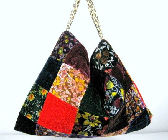 Velvet Purses Patchwork Hobo Bag Burgundy Hobo Bag Velvet Hobo Bag Boho Hobo Velvet Hippie Hobo Bag 70's Patchwork Bag Hippie Shoulder Bag