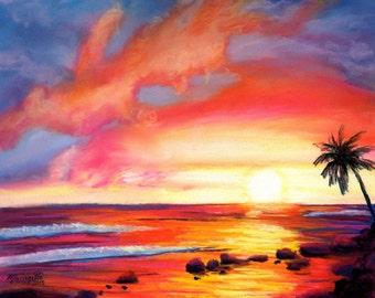 sunset art prints,  8 x 10 giclee,  kauai salt pond, beach paintings, sunset artwork, kauai art galleries, kauai artist, decor