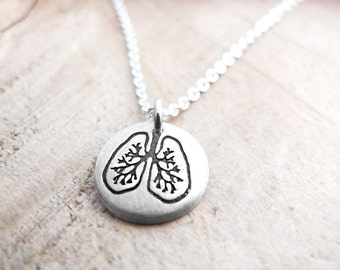 Tiny Lungs necklace, anatomical lung jewelry, anatomy, medical necklace, lung transplant, silver lungs pendant