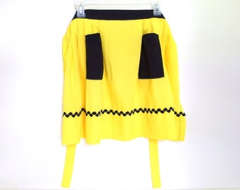 Vintage Handmade Half Apron, Yellow and Black Apron, Modern Size 0 to 12
