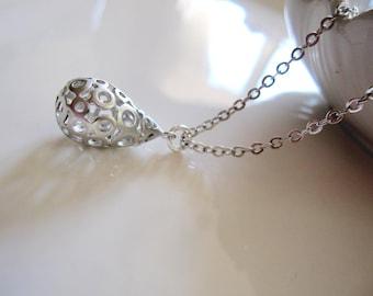 Silver Filigree Necklace, Patterned Pendant, Minimalist Modern Jewelry, Silver Pattern, Ornate Charm necklace, Petite Pendant