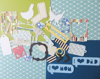Large lot of die cut shapes scrapbook embellishments card making supplies scrapbook tags chickens butterflies tabs hearts labels arrows 644