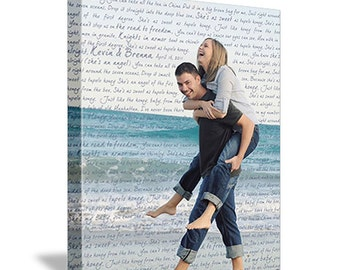 1st anniversary Gift Personalized Your Photo to Canvas Words Wedding Photo and Poems vows lyrics Anniversary 12x16