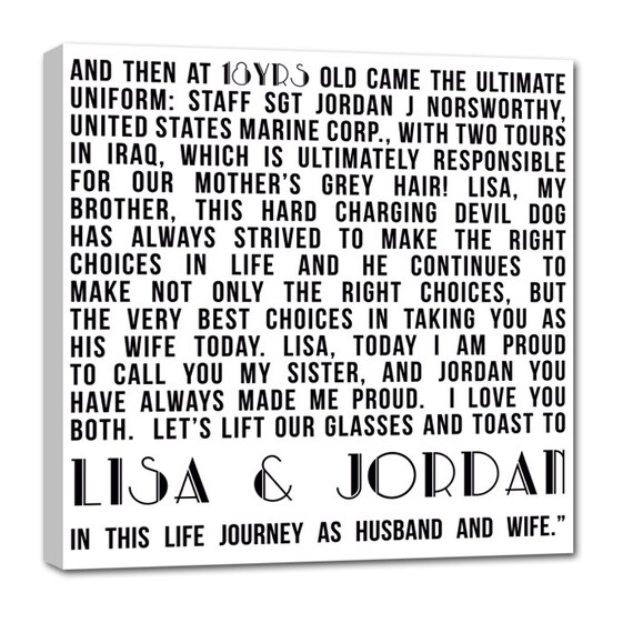 Personalized Unique Anniversary Present, Gift for husband, Present Photo and writing typography OOAK canvas 20X20