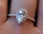 Rose gold ring Pear Sapphire 1.6ct white sapphire diamond ring 14k rose gold. Engagement ring by Eidelprecious