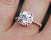 on hold till Jan 4th- White sapphire engagement ring 14k rose gold diamond ring 2.92ct cushion sapphire