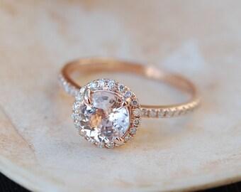 Rose gold engagement ring Peach sapphire diamond ring 14k rose gold round sapphire