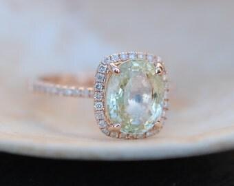 Rose Gold Engagement Ring Jasmine Sapphire Ring 2.89ct cushion 14k rose gold diamond ring. Engagement rings by Eidelprecious.