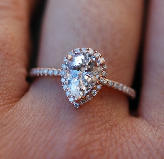 Rose gold ring Pear Sapphire 2.95ct white sapphire diamond ring 14k rose gold. Engagement ring by Eidelprecious