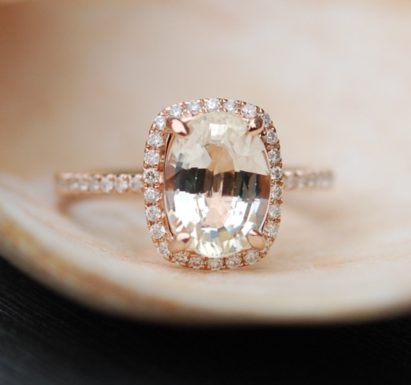 Champagne Sapphire Ring Rose Gold Engagement Ring By