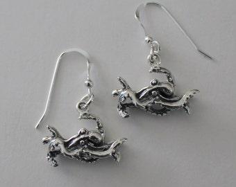 OCTOPUS Sterling Silver Earrings  - 3D - Marinelife, Fish, Ocean, Food
