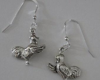 Earrings - Sterling 3d HEN, ROOSTER, CHICKEN - Farm, Ranch, Fowl, Bird