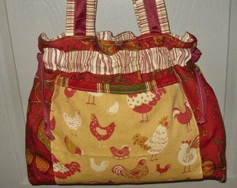 Red gold chickens country hobo gypsy knitting crochet beach bag tote boho diaper handbag chic shabby drawstring