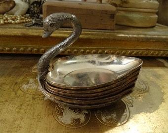 Vintage Shabby Metal Swan Dish Ornate
