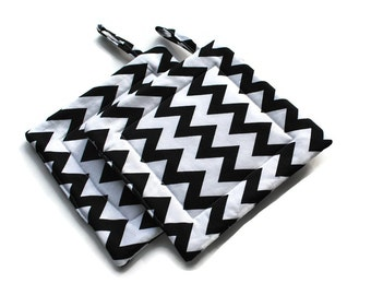 Handmade Quilted Pot Holders Set of 2 Chevron White Black
