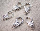 20 Silver Plated Sleek Art Deco Lobster Claw Clasps 16mm x 9mm F0522720