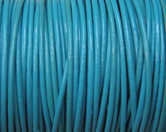 1mm Turquoise Blue Round Leather Cord 2 yards for Wrap Bracelets Macrame Knotting Jewelry