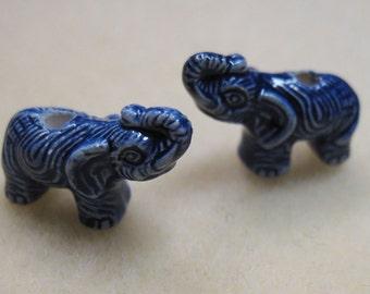 2 Dark Blue Peruvian Ceramic Large Hole Elephant Beads 18mm x 10mm