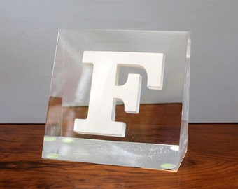 Letter F. Vintage mid century Lucite paperweight.
