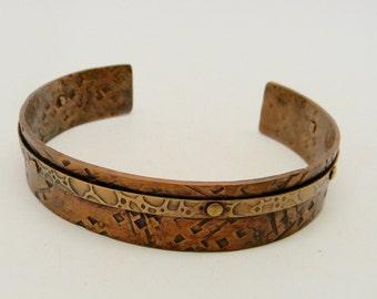 Steampunk cuff bracelet. Mixed metal bracelet.