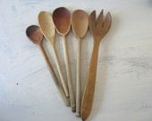 Wooden Spoons Scoops Set 5 Aged Used Kitchen Wood Spatulas Rustic Farmhouse Kitchen Decor Wedding Decoration Kitchen Utensils Shabby Chic