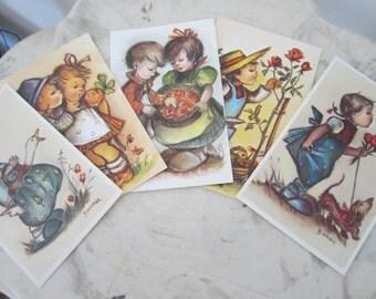 Post Cards 'Little Folks' Blank Lot of 5, Hummel Children Signed Bonnie, Novelty Postcard Ephemera Paper Scrapbooking Unused NOS Shabby Chic
