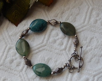 SALE......One of a Kind Sterling Silver and Jadeite Toggle Bracelet