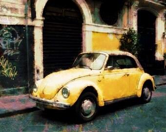Yellow VW Beetle  Archival Print