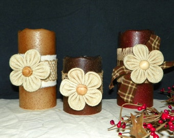 Flameless LED Candle 6 or 4 Inch Primitive Textured TIMER PILLAR Candles, Battery Operated