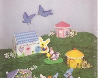 Plastic canvas bunny village