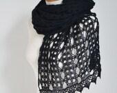Lace crochet shawl, stole, Alpaca shawl, Black shawl,  N337