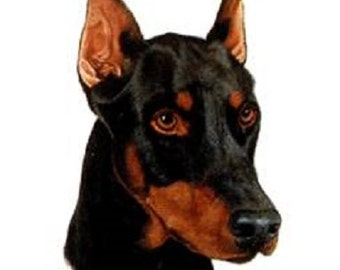 DOBERMAN DOGS (cropped) Head in Twelve Identical 6 inch Fabric Squares for Quilting and Sewing
